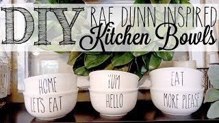 DIY Rae Dunn Inspired Bowls   Dollar Tree Hack