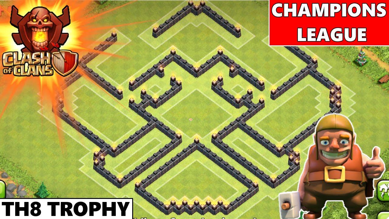Clash Of Clans | Epic TH8 Champions League Trophy Base ...