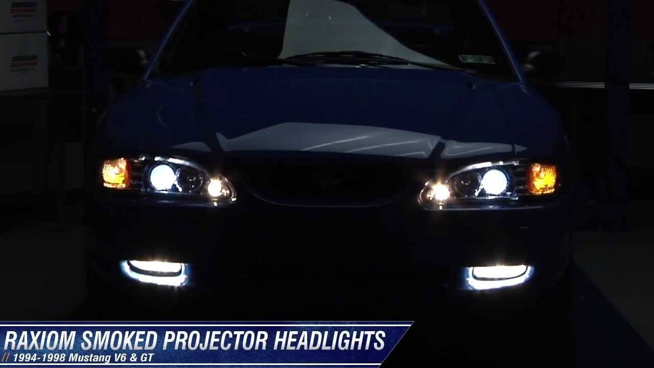Mustang Raxiom Chrome Projector Headlights Halo 94 98