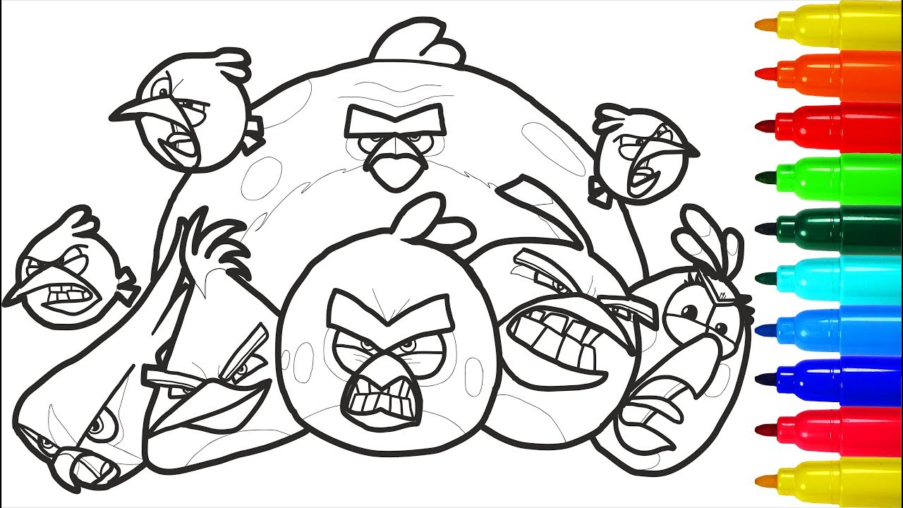 Angry Birds 3 Coloring Pages Colouring Pages For Kids With Colored Markers Youtube