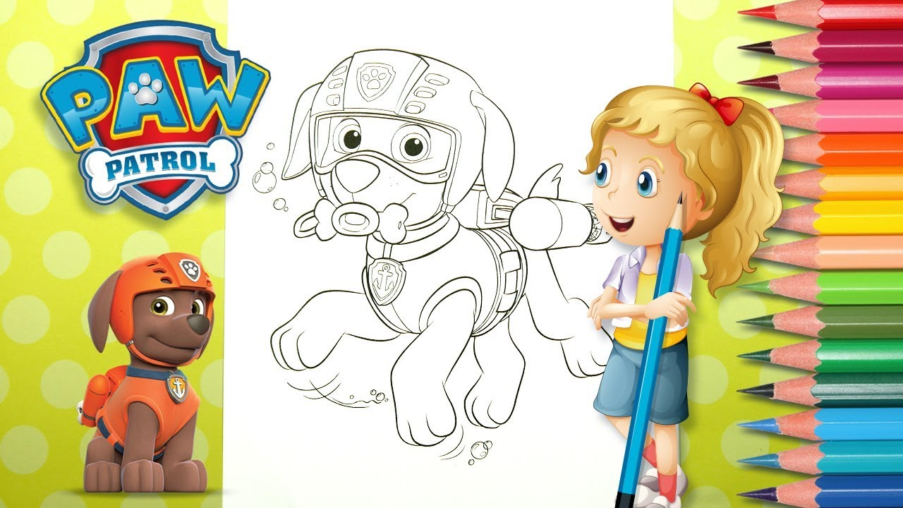 Coloring Zuma From A Paw Patrol Coloring Page Coloring With Katy