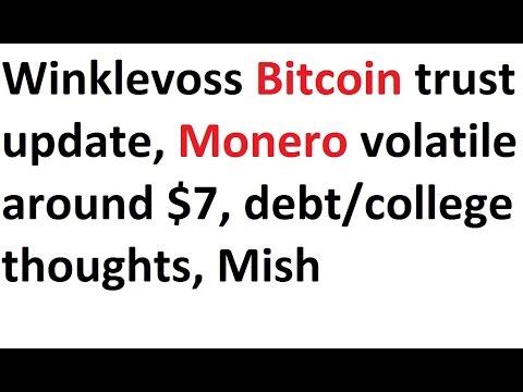 Winklevoss Bitcoin Trust Update, Monero Volatile Around $7, Debt/college Thoughts, MishTalk