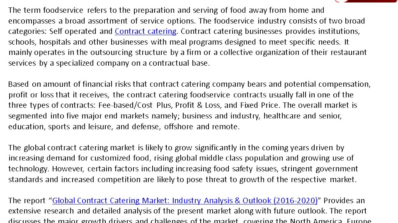 Global Contract Catering Market Analysis YouTube – Contract Food Service