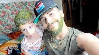 MEANEST PRANK EVER!! (I DYED HIS SON'S HAIR GREEN)