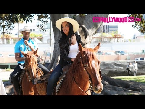 Rachel Lindsay From The Bachelorette Goes Horseback Riding In Beverly Hills 3.23.17