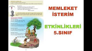 Memleket İsterim Şiiri Etkinlikleri ve Cevapları 5.Sınıf Türkçe