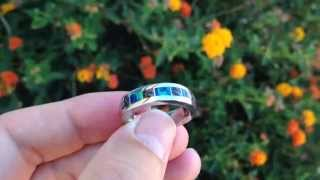 Dinosaur Bone Ring with Lab Created Opal in Stainless Steel