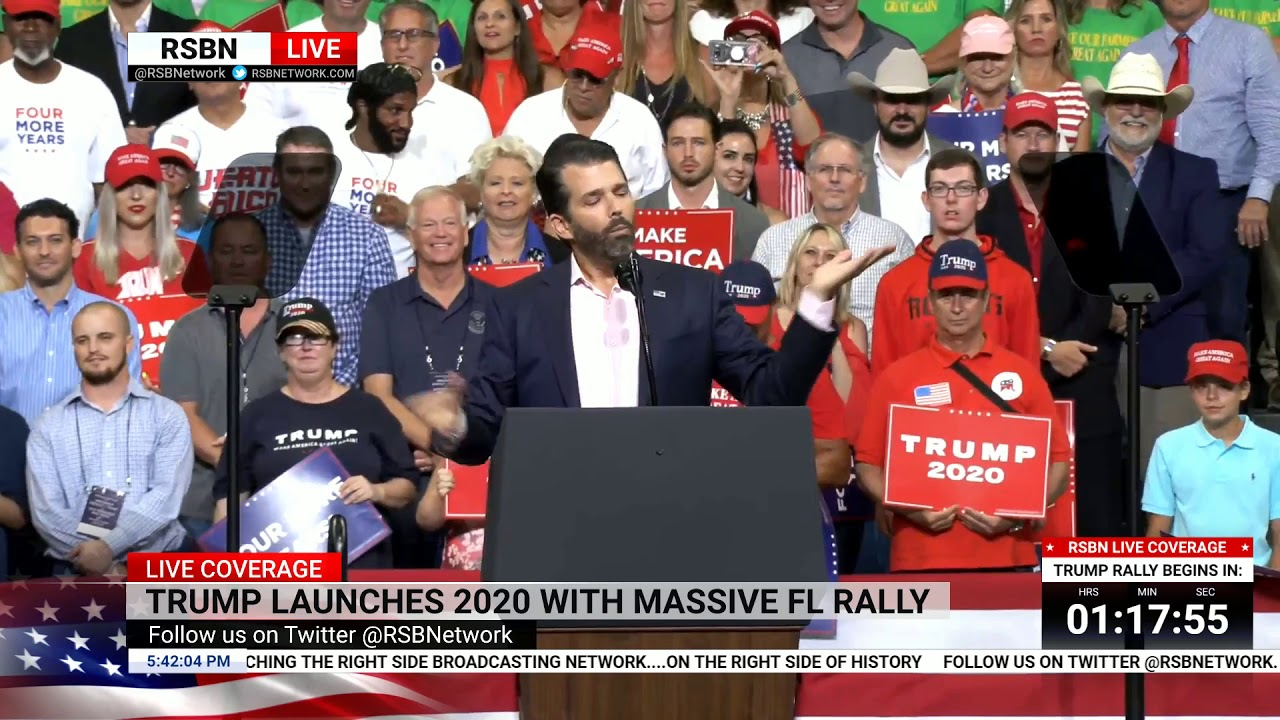 RSBN -  WATCH: Donald Trump Jr. Delivers EXPLOSIVE Speech at Reelection Rally