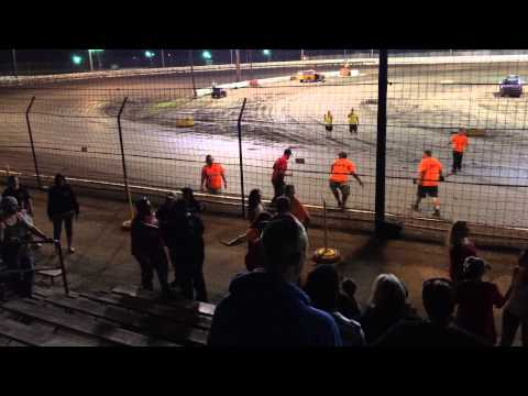 Sycamore speedway fight in the stands. Front row.
