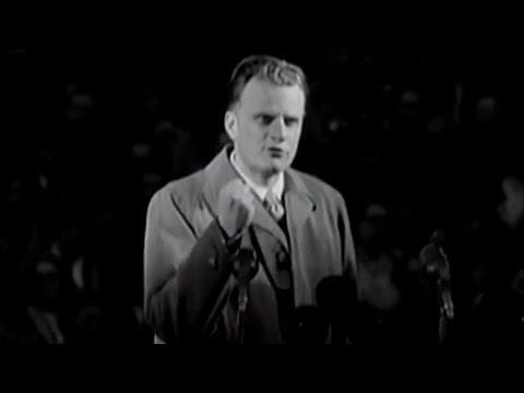 Billy Graham preaches at Wembley Stadium in 1955