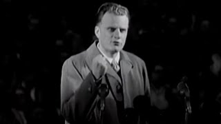 Billy Graham preaches at Wembley Stadium in 1955