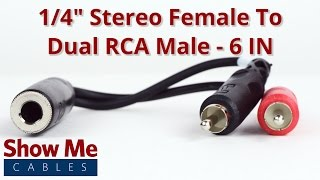 1/4 Inch Stereo Female To Dual RCA Male Adapter
