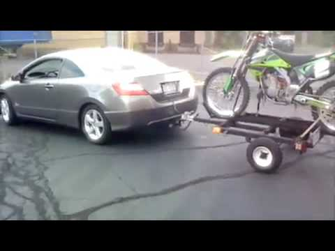 06 Honda Civic With Hitch  Pulling Trailer Awith Dirt Bike   YouTube
