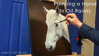 Painting a White Horse Portrait in Oil Paints