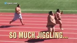 Watch 3 huge sumo wrestlers square off in foot race for the ages.