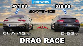 Mercedes-AMG Drag Race: CĻA 45S (421 PS) vs. C 63S Coupé (510 PS) - 1/4 Mile & 1 Kilometer