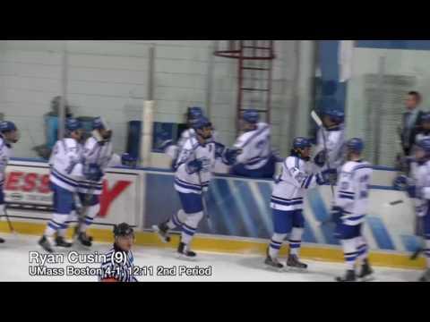#12 UMass Boston Mens Hockey vs St.  Anselm College Highlights (1/6/17)