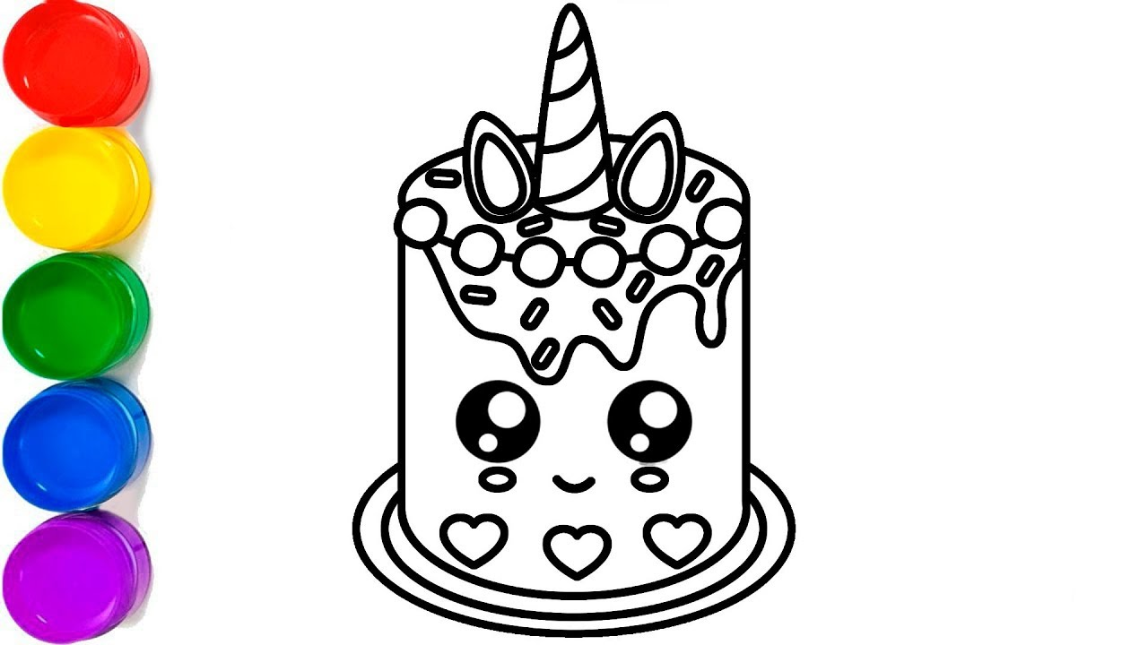 Glitter Unicorn Cake Kawaii | Coloring and Drawing for ...