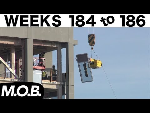3-week construction time-lapse: Weeks 184-186 (M.O.B. edition): Curtain wall glass installation