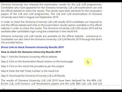 Osmania University LLB LLM results 2019 declared, Check at osmania.ac.in...