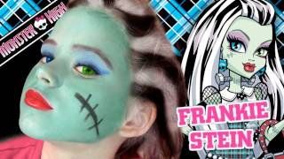 Repeat youtube video Frankie Stein Monster High Doll Costume Makeup Tutorial for Halloween