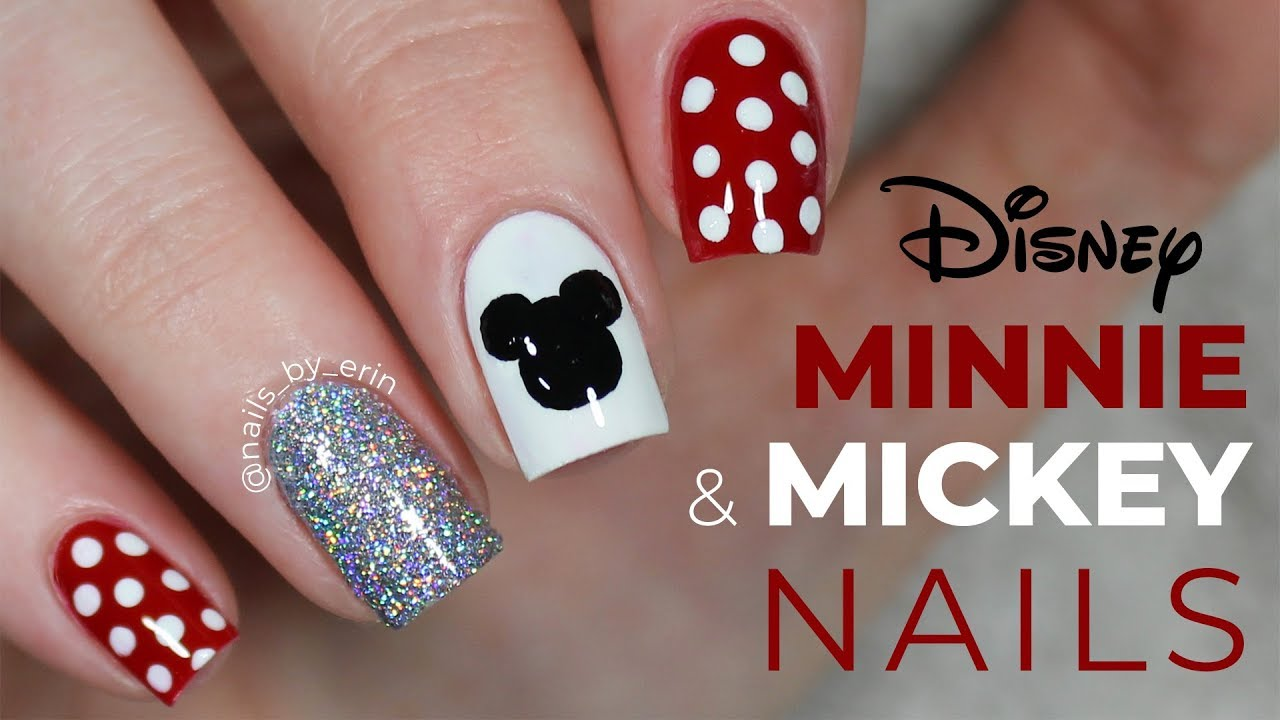 Minnie and Mickey Mouse Nails | NailsByErin - YouTube