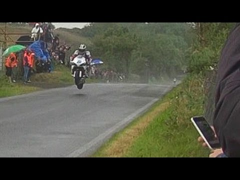 . Very . Fast . Wet . Jump . ✔ 240-Kmh/150-Mph Armoy Road Races - N.Ireland ♣
