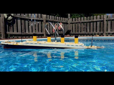 Lego cobi titanic sinking recreation in my pool - Did the titanic have swimming pools ...