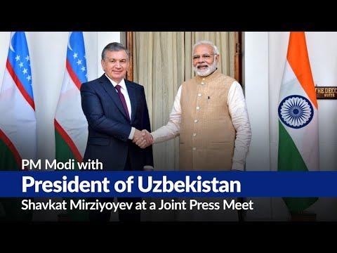 PM Modi with President of Uzbekistan Shavkat Mirziyoyev at a Joint Press Meet