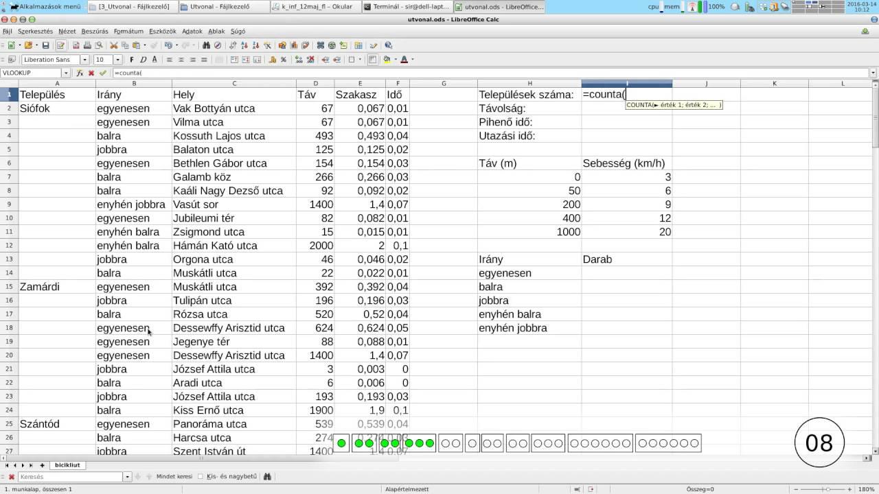Útvonal, Táblázatkezelés, 2012. tavaszi középszintű..