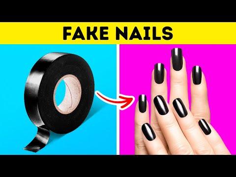 DIY FAKE NAILS AT HOME || Crazy Girly DIYs and Hacks