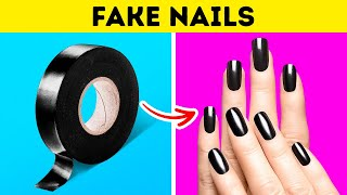 DIY FAKE NAILS AT HOME || Crazy Girly DIYs and Hacks