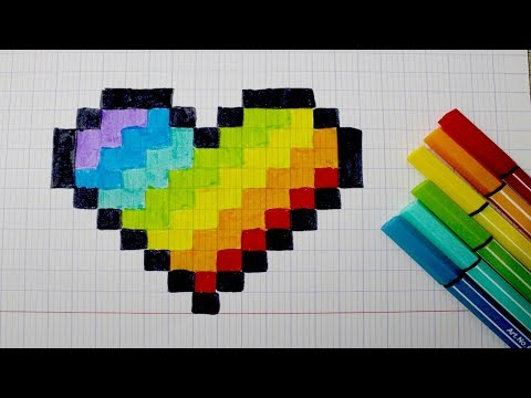 Coeur Arc En Ciel En Pixel Art Youtube