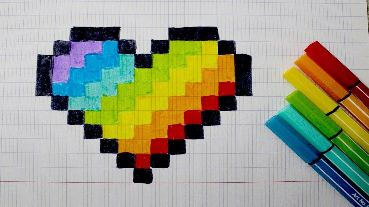 Coeur Arc En Ciel En Pixel Art