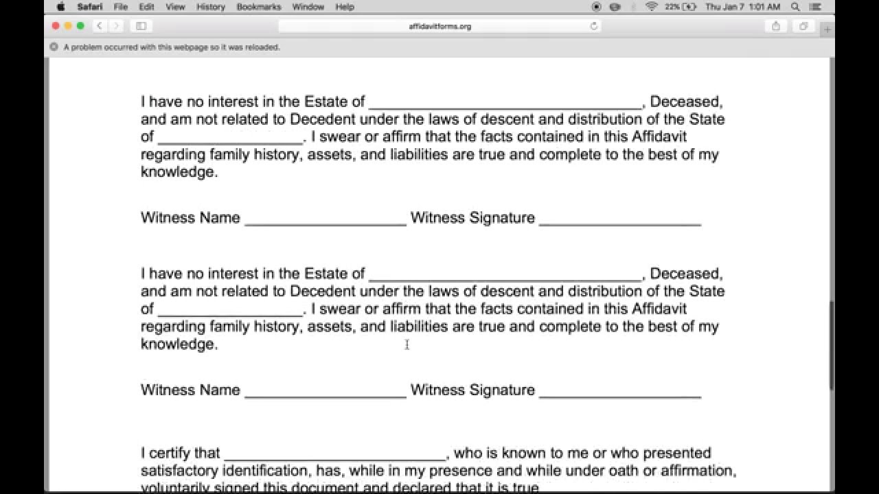 How To Write A Small Estate Affidavit Form  Affidavit Forms