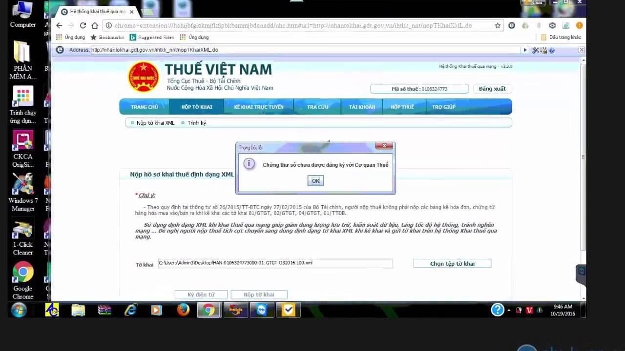 [Chukyso.com.vn] – Hướng dẫn khắc phục lỗi chứng thư số chưa được đăng ký với cơ quan thuế