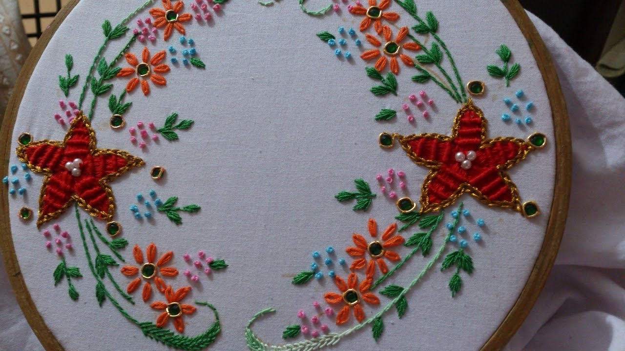 Hand embroidery spider web stitch closed fly lazy