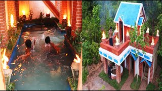 Awesome Build  Most Beautiful Mud Golf Villa Underground Swimming pool & Water well. Full video