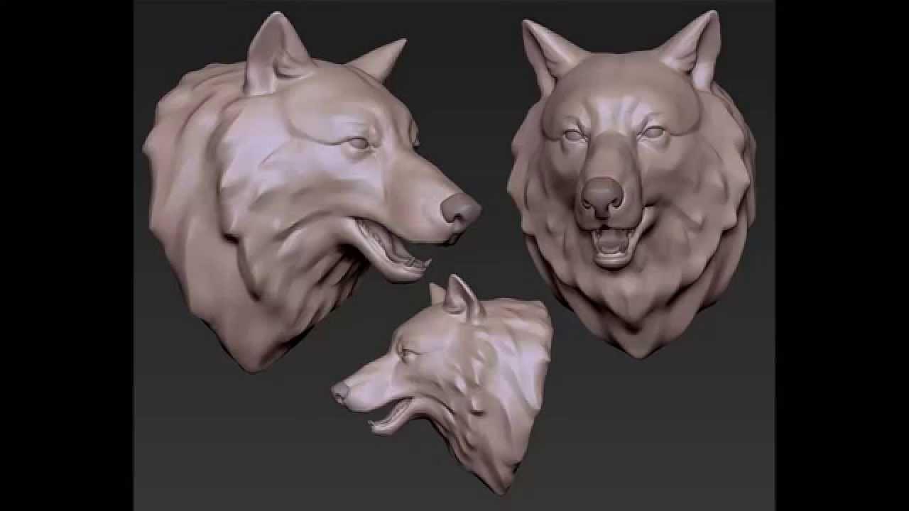 Wolf head sculpting