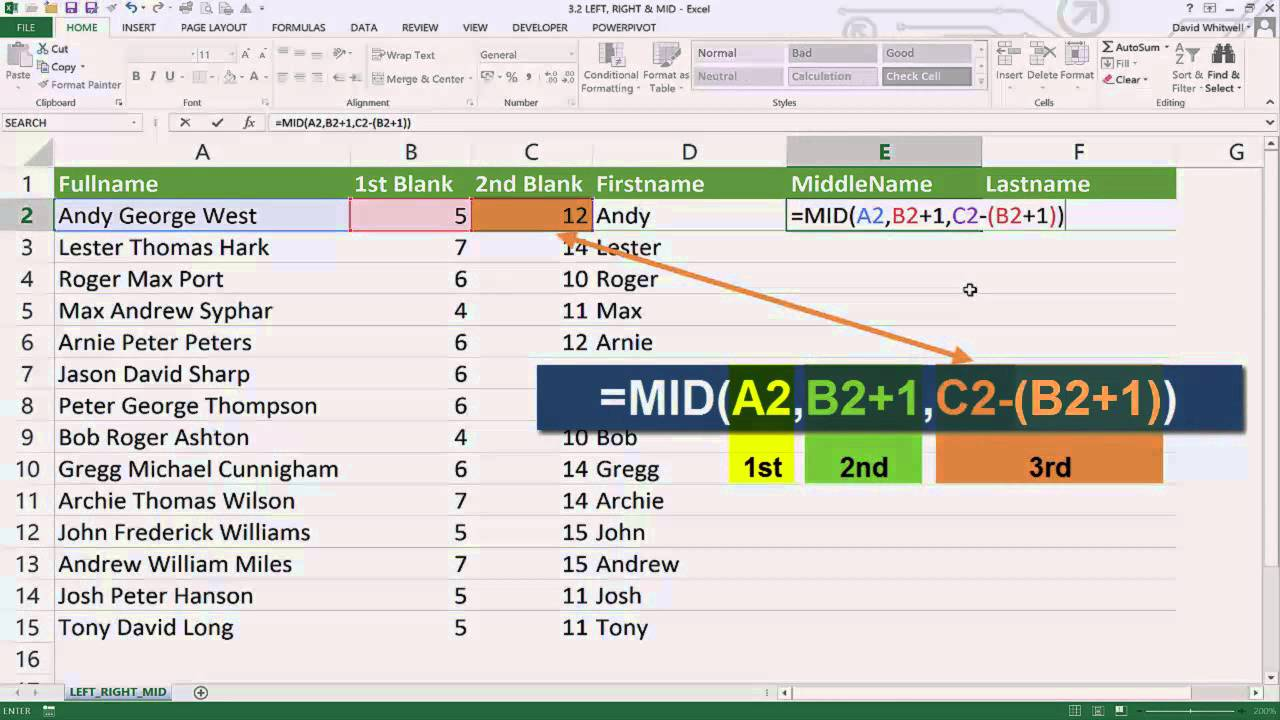 Learn Excel Functions   LEFT, RIGHT, MID & LEN