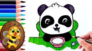 dibujando y pintando un panda comiendo - Dibujos para Niños - How to draw and paint