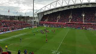 Munster wins against Toulon in Limerick . #Rugby