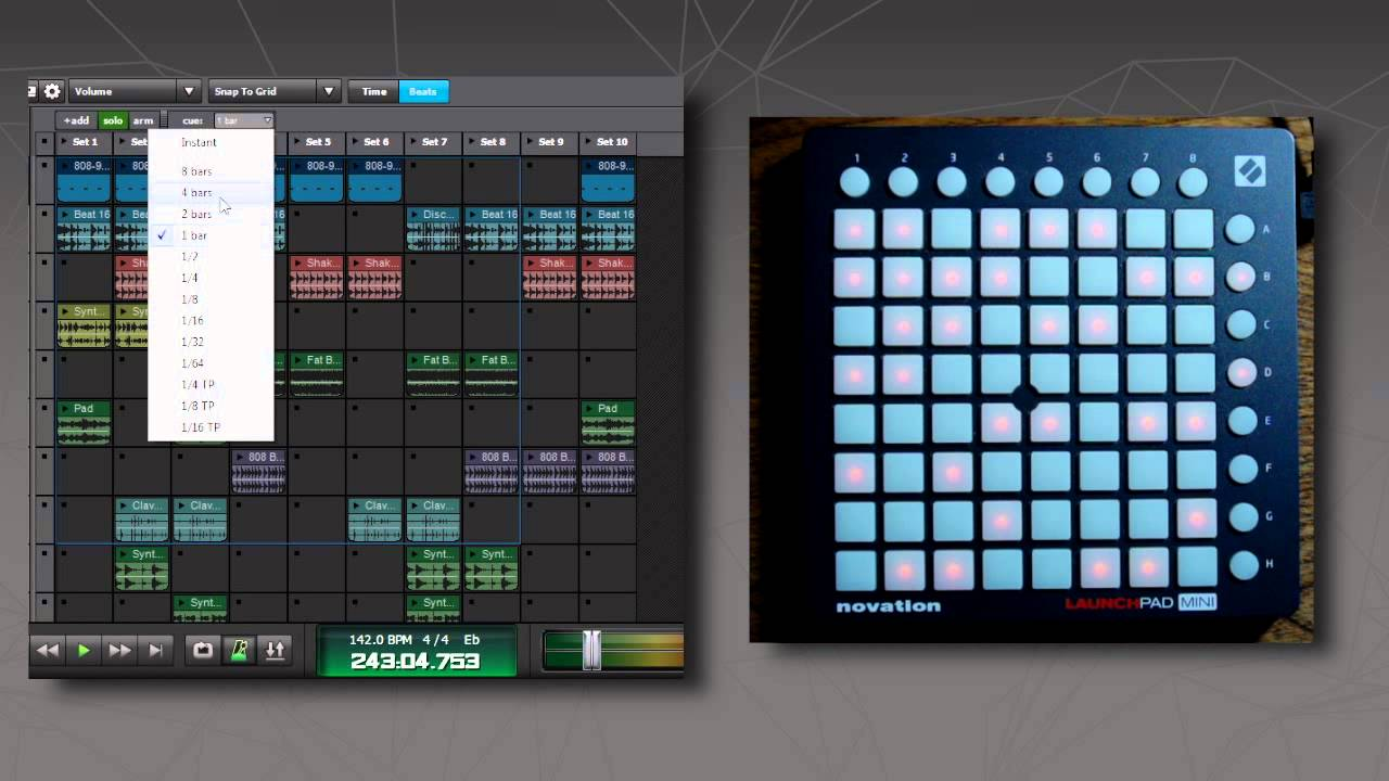 mixcraft 7 performance panel using the novation launchpad youtube. Black Bedroom Furniture Sets. Home Design Ideas
