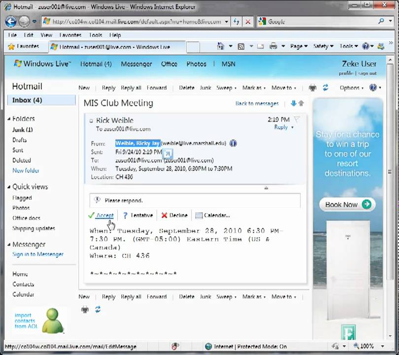 How To Accept A Meeting Invitation In Windows Live