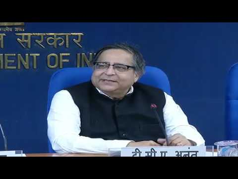 Chief Statistician of India and Secretary, Dr. T.C.A Anant addresses the media
