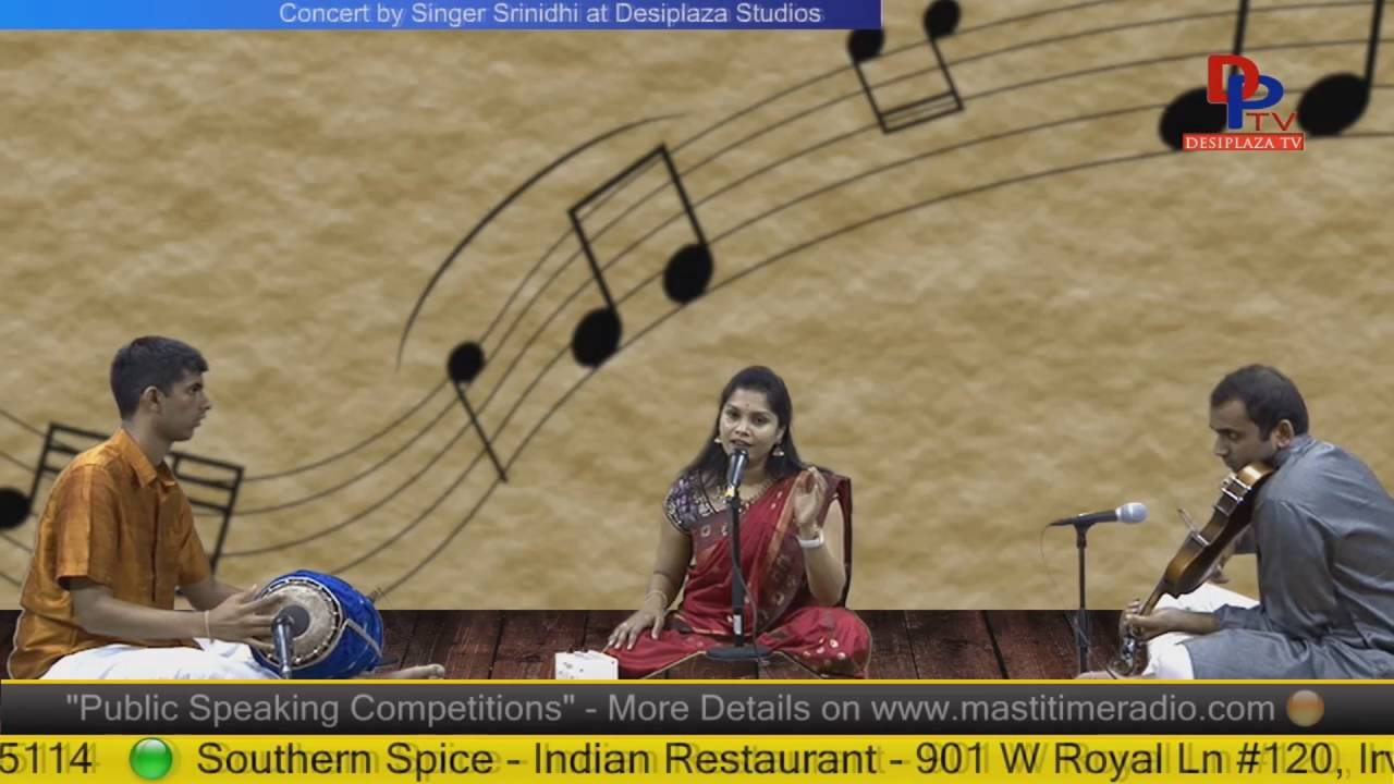 Part 5. Srinidh giving Carnatic music concert at Desiplaza Studio,Irving,Texas.