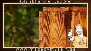 Weinkisten Holz flammen abflammen und ölen, flammen altern lassen DIY Tutorial