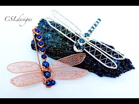 Dragonfly wirework brooch