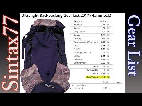 Ultralight Backpacking Gear List 2017