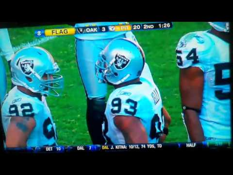 Richard Seymour punches Ben Roethlisberger in the face   Steelers vs  Raiders